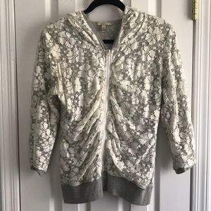 Anthropology Bordeaux- Gray&White lace 3/4 hoodie